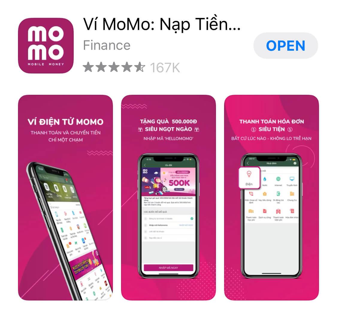 Ứng dụng kiếm tiền Momo trên điện thoại
