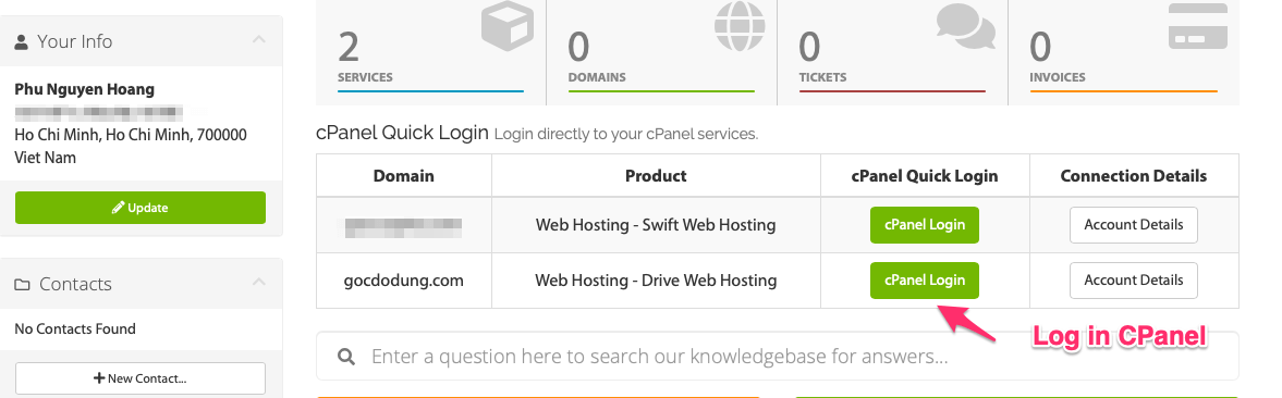 log in vào cpanel de reset wordpress hosting