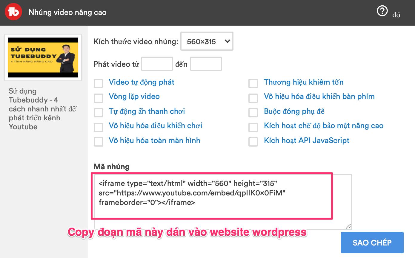 sao chep mã dán vào website