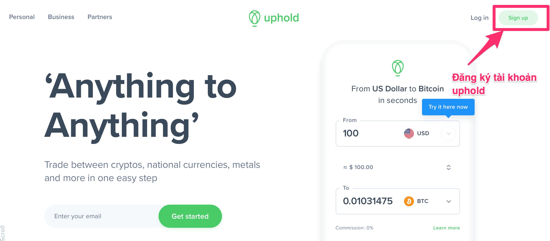 hướng dẫn đăng ký tài khoản uphold - goccuaphu.com