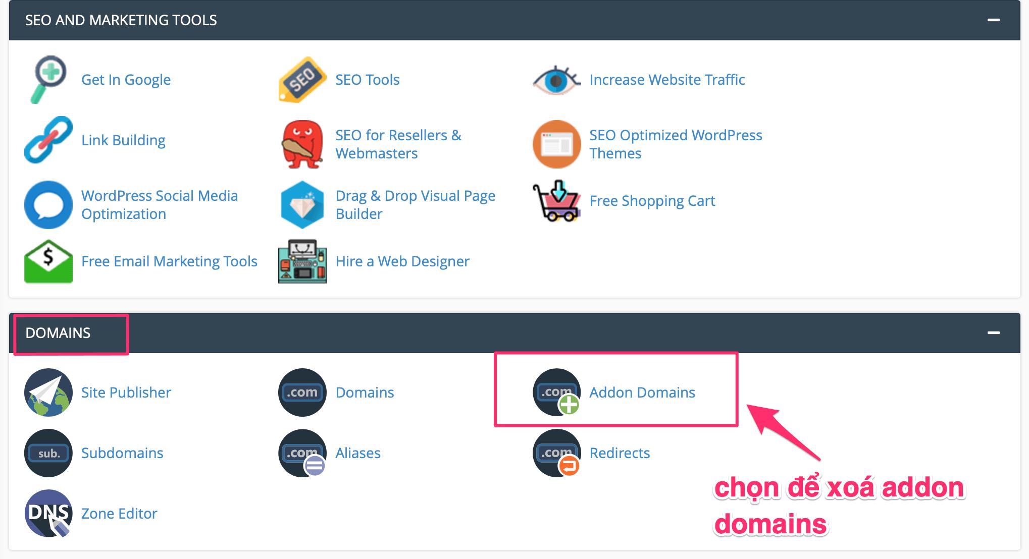 xoá addon domain trên hosting