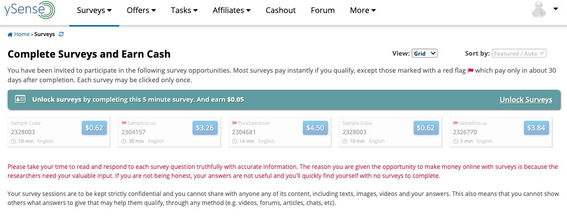 tiền làm khảo sát kiếm tiền với ysense