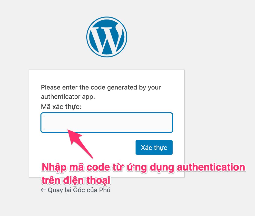 yêu cầu nhập mã authenticator