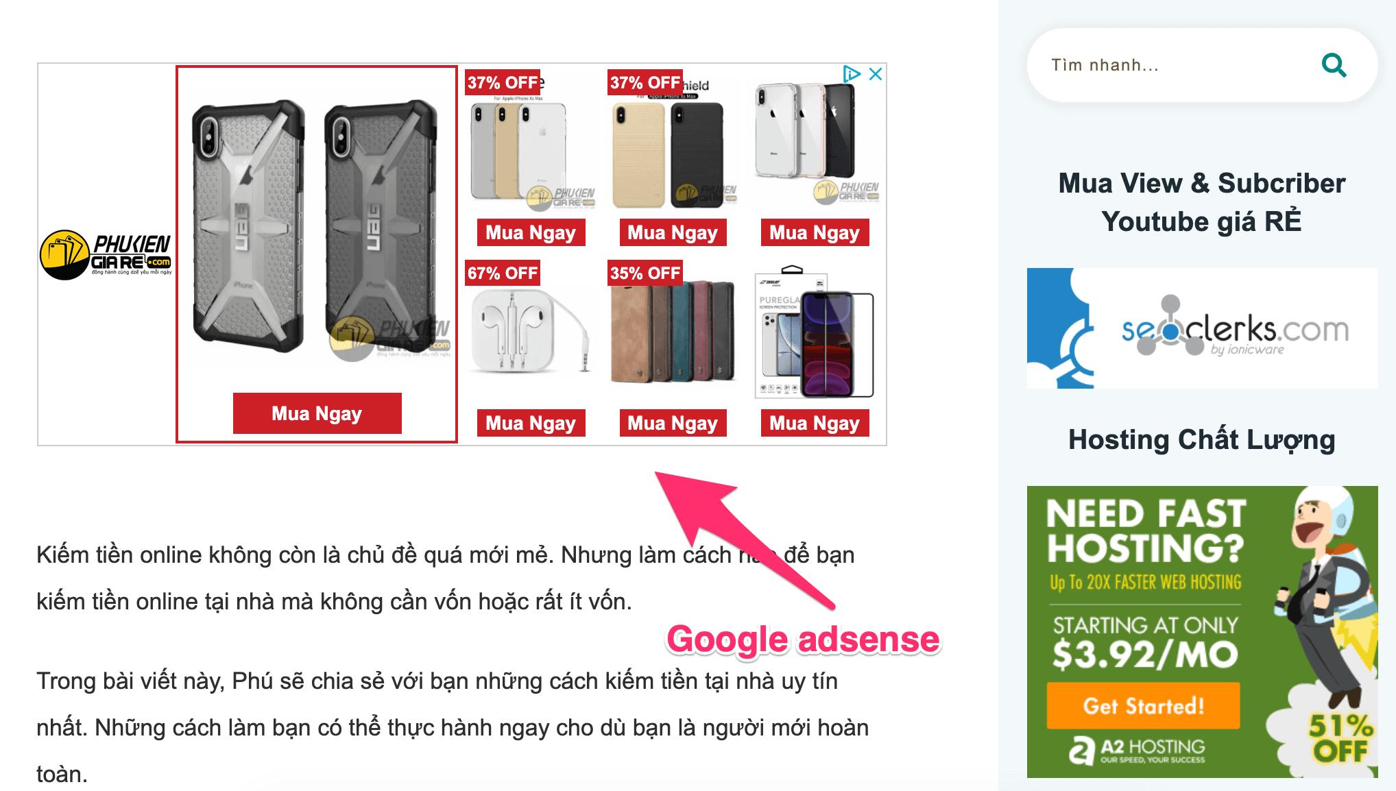 kiếm tiền online với Google adsense