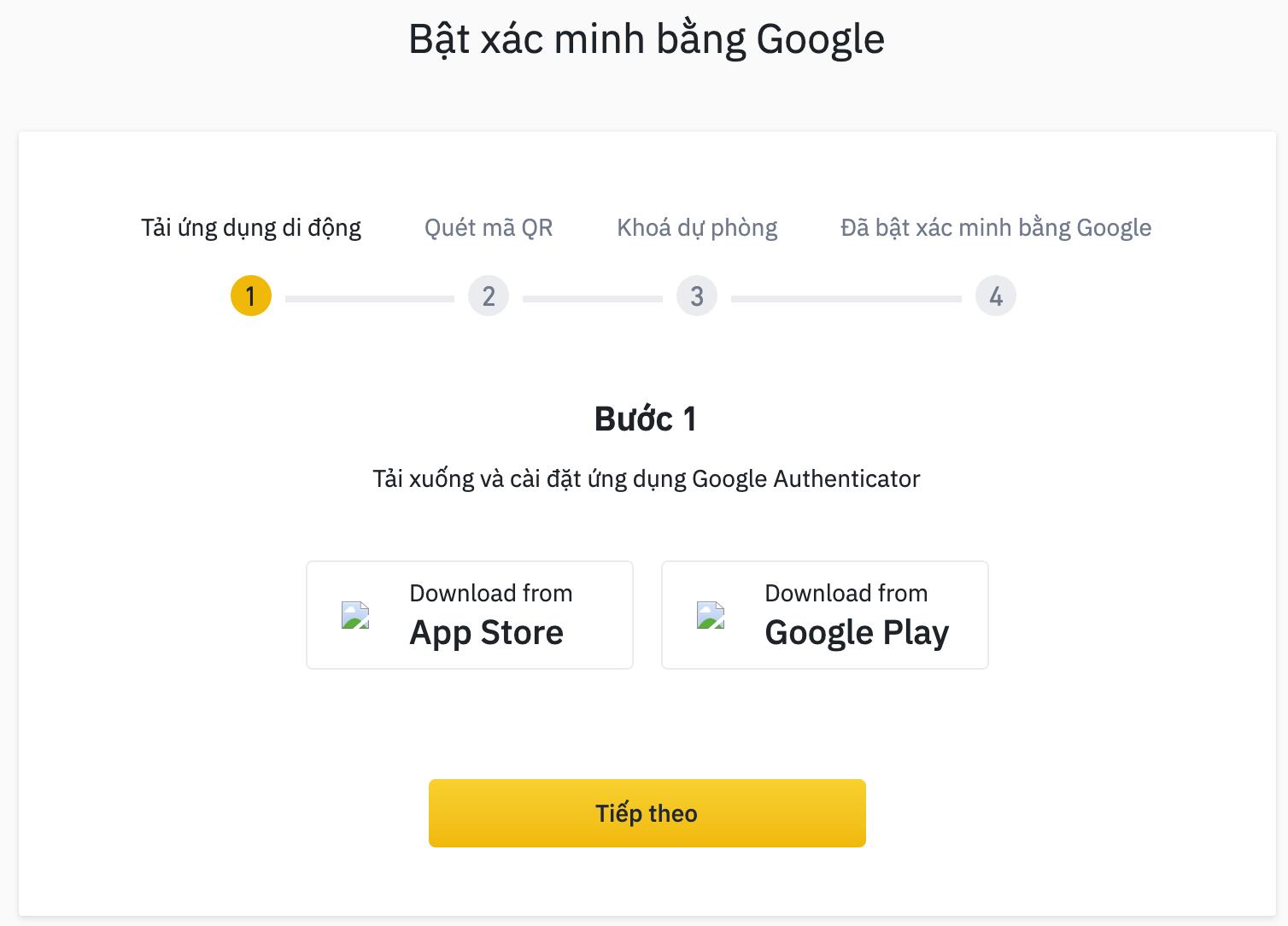 bật xác minh bằng google cho tài khoản binance