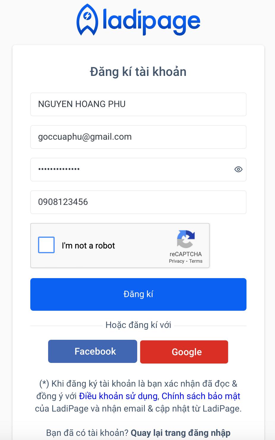 đăng ký thông tin tài khoản Ladipage