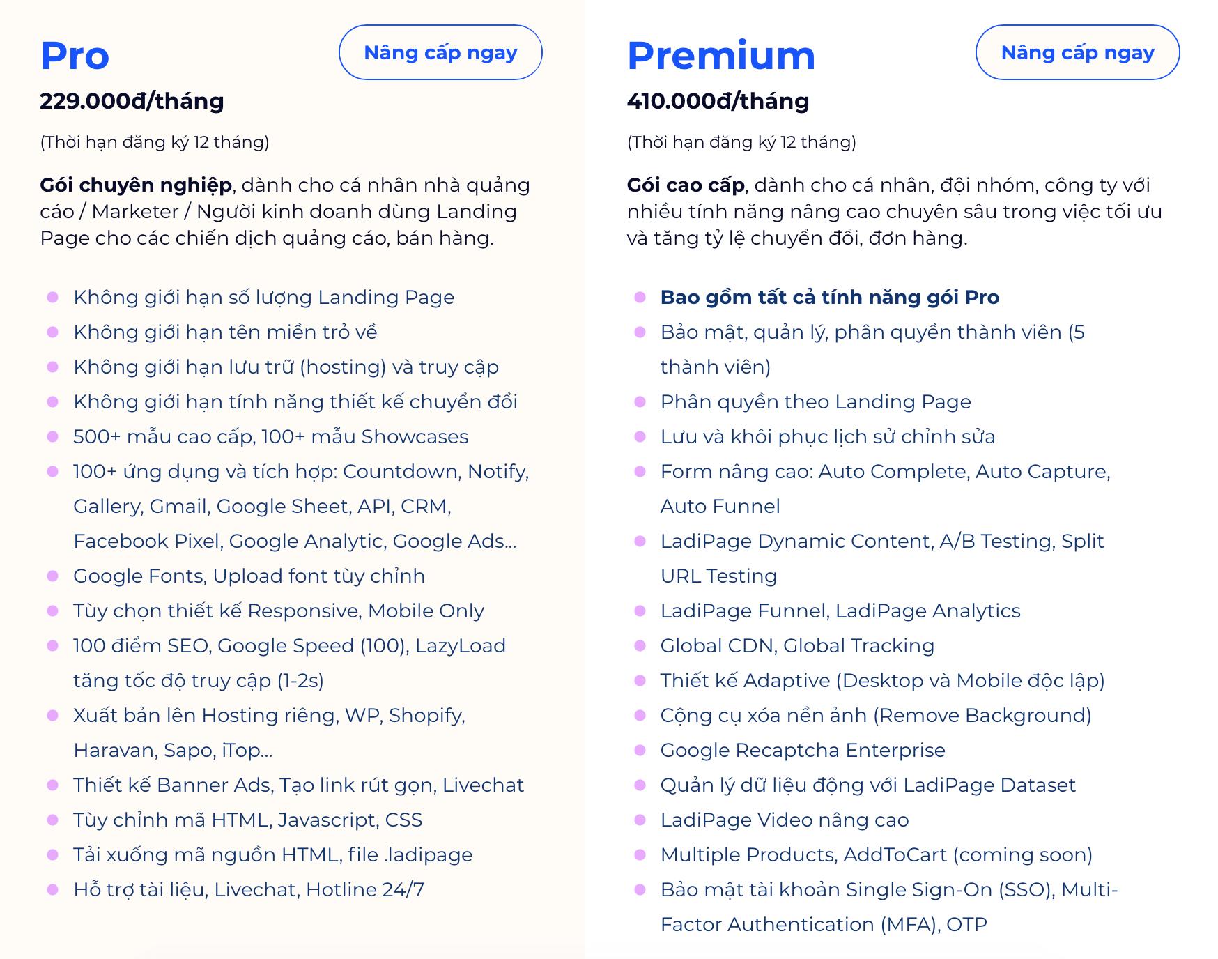 so sánh phiên bản pro và premium của ladipage