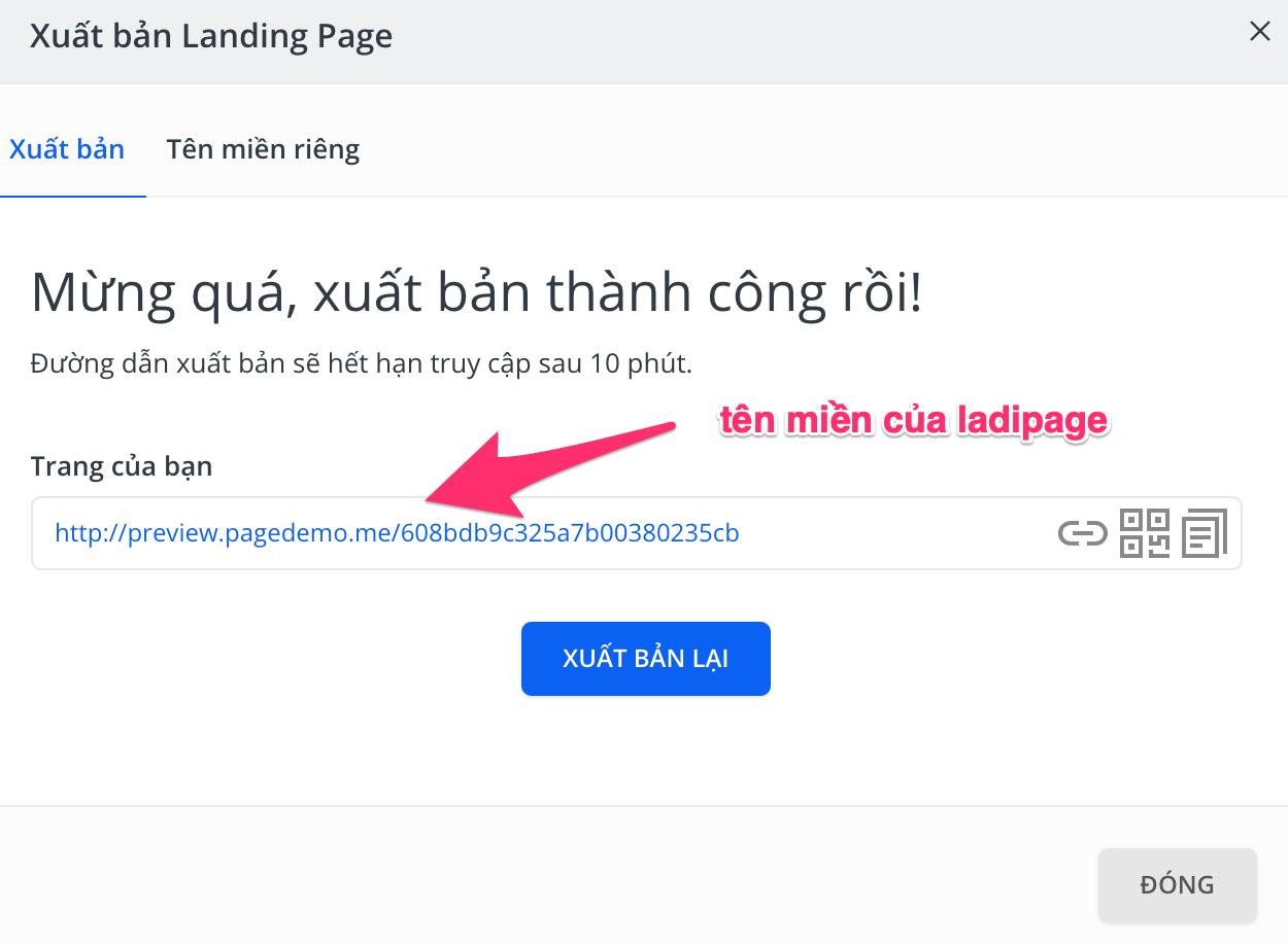 xuất bản landing page bằng ladipage