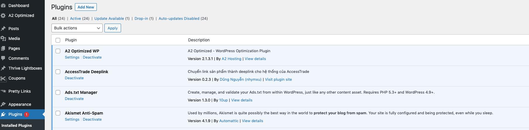 plugin trong wordpress admin