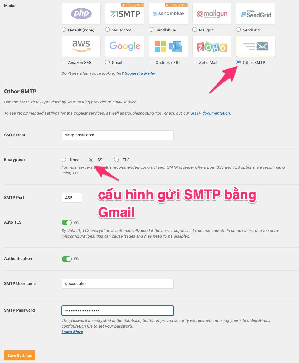 cấu hình gửi email SMTP trên wordpress