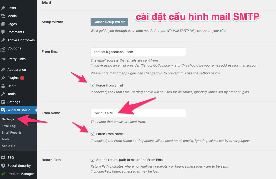 cấu hình email SMTP trong wordpress
