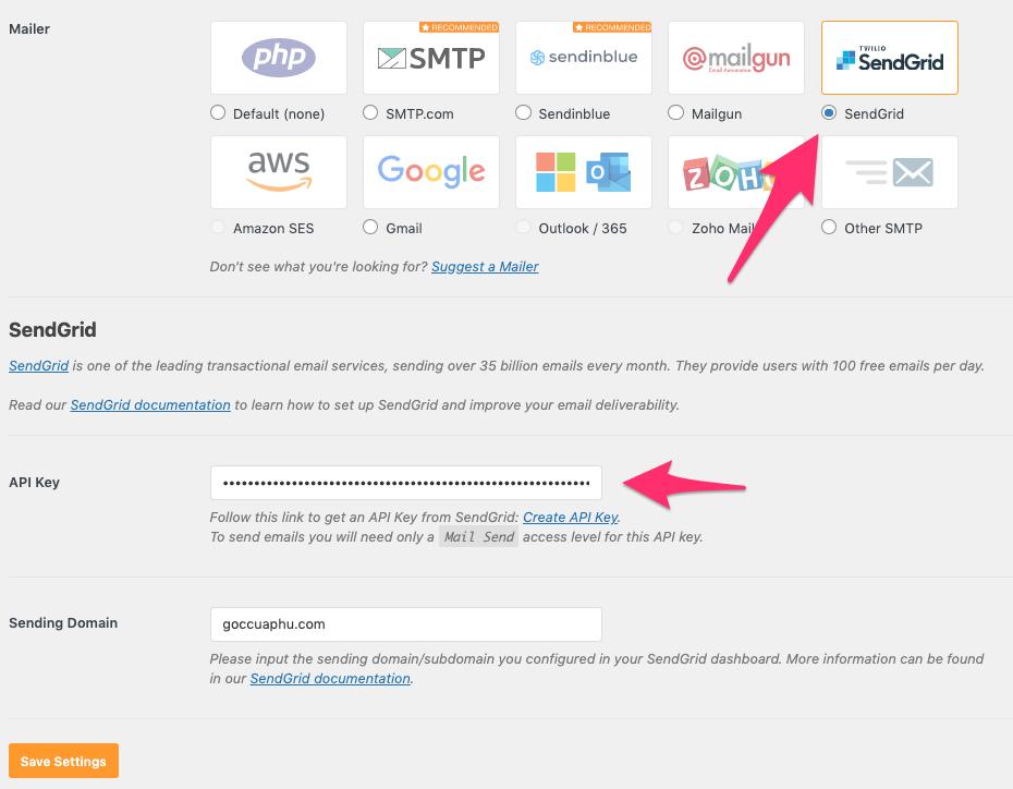 cầu hình sendgrid gửi mail SMTP trong wordpress