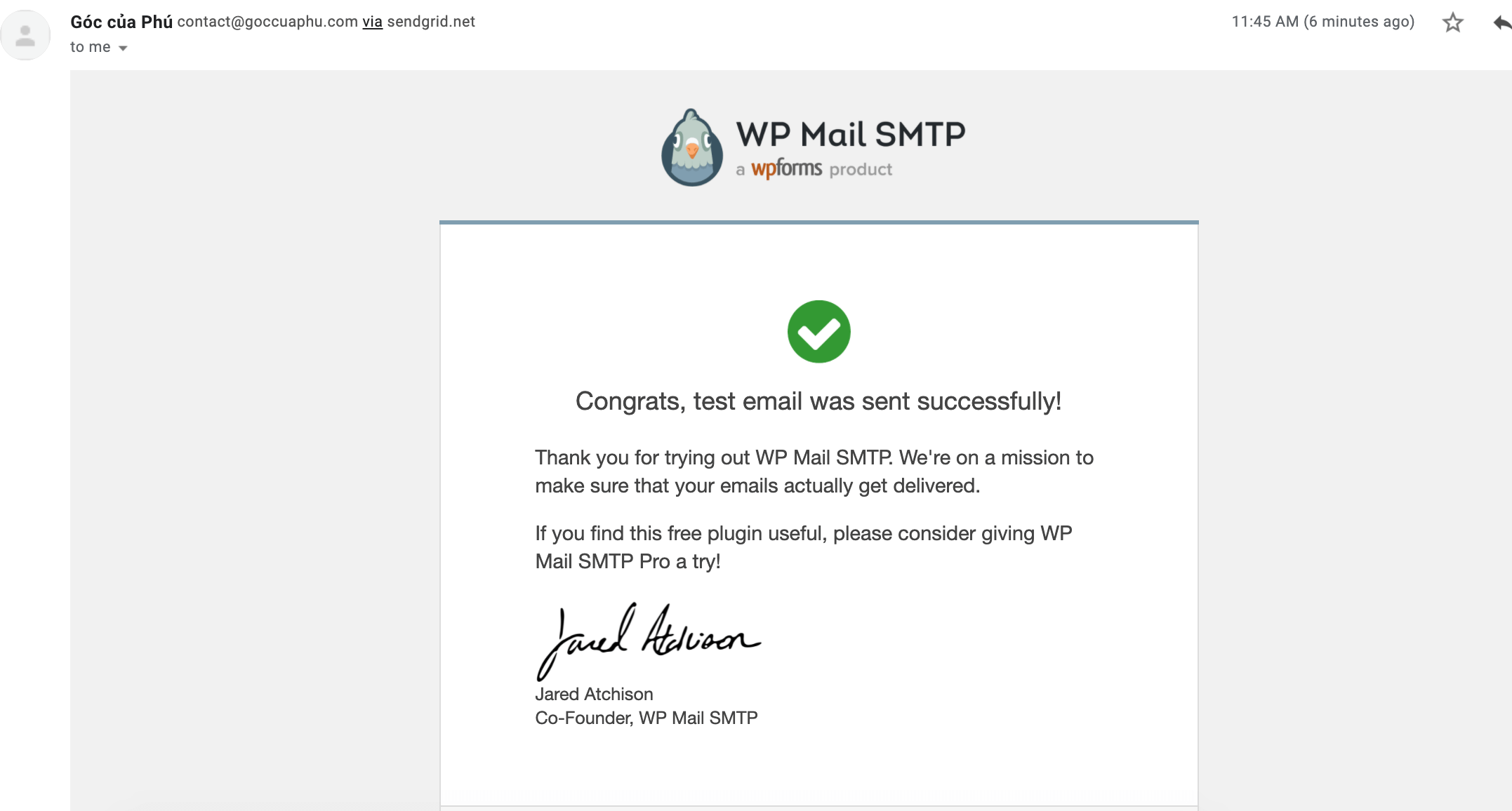 check email test của WP Mail SMTP