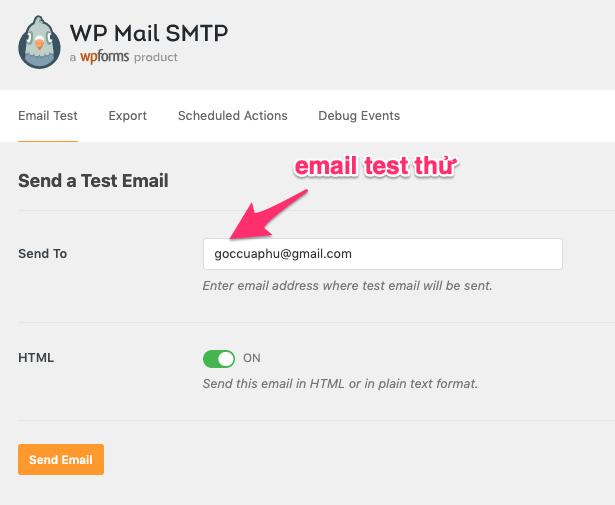 gửi email test bằng WP mail SMTP